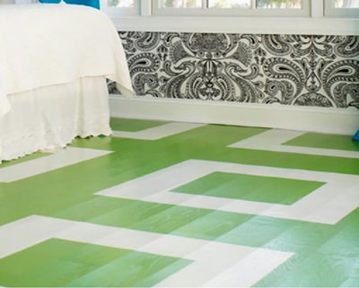 Green paint on wood floors looks great