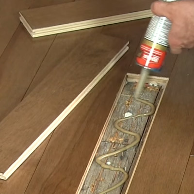 Fix damaged wood floors with new planks