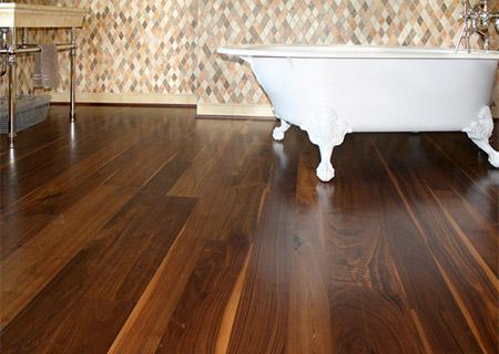 Walnut being used on a bathroom floor